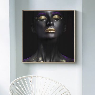 Black Gold African Nude Woman Oil Painting on Canvas