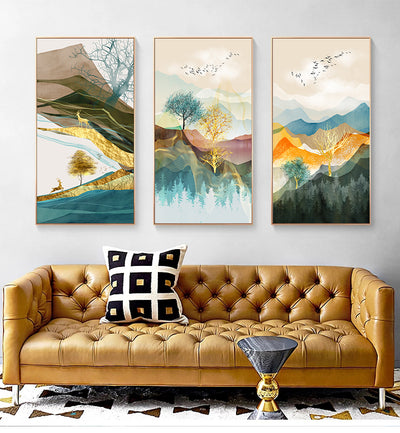 Canvas Painting Landscape Wall Art Golden Poster