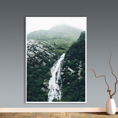 Abstract Moon Waterfall Picture Scandinavian Poster Nordic Style Print Nature Scenery Wall Art Canvas Painting Modern Room Decor