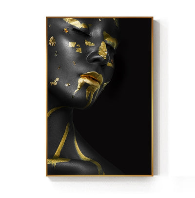 Golden Black Lady Canvas Painting Wall Art - Minimalist Nordic