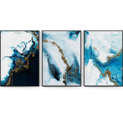 Abstract Splash Blue Golden Canvas - Minimalist Nordic