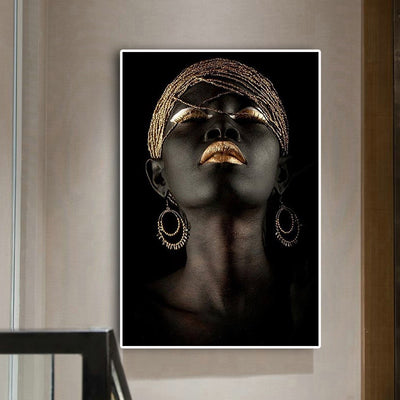 African American Woman Oil Painting Poster Wall Art - Minimalist Nordic