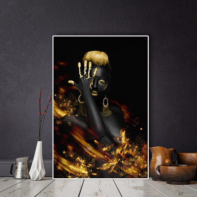 Indian Black and Gold Oil Painting on Canvas
