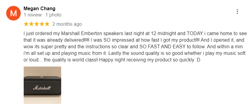 5 Star Google Review about Marshall Emberton's world-class sound quality