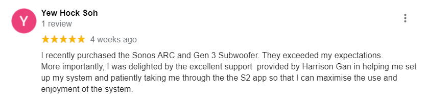 5 Star Google Review about Sonos Arc and the excellent support received from TC