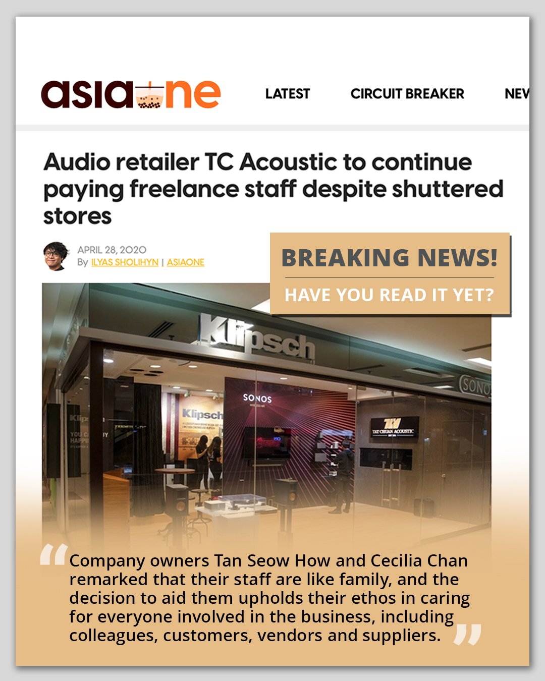 #TCcares featured on AsiaOne