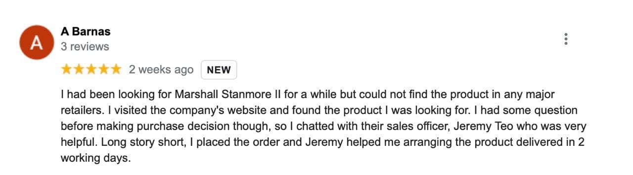 5 Star Google Review about the Marshall Stanmore and amazing support by TC staff