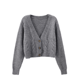 Women's Cable Knit Crop Cardigan