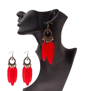 Bright & Bold Feather Drop Earrings - Drestiny