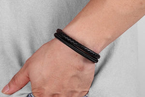 Classic Style Leather With Stainless Steel Bracelet - Drestiny
