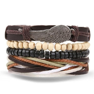 4 Pcs Leather/Rope/Alloy/Wood Bracelet - Drestiny