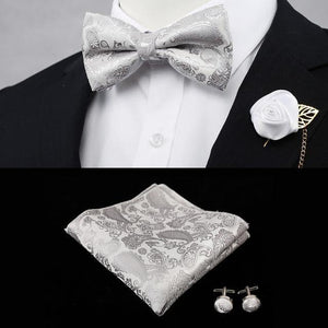 Bow Tie + Pocket Square + Cufflinks + Silk Flower Pin =Everything You Need! - Drestiny