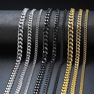 CUBAN LINK 3 TO 7 MM  STAINLESS STEEL NECKLACE - Drestiny