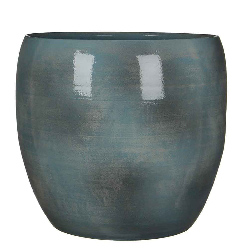 Mica Decorations lester ronde pot blauw maat in cm: 35 x 38