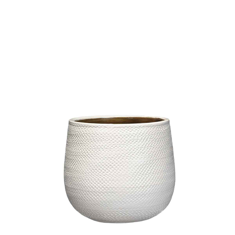 Mica Decorations gabriel ronde pot wit maat in cm: 19 x 21