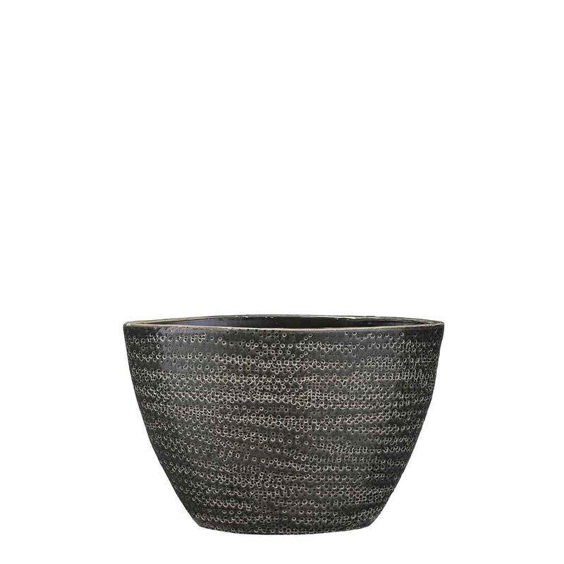 Mica Decorations gabriel pot ovaal grijs maat in cm: 30 x 13 x 21