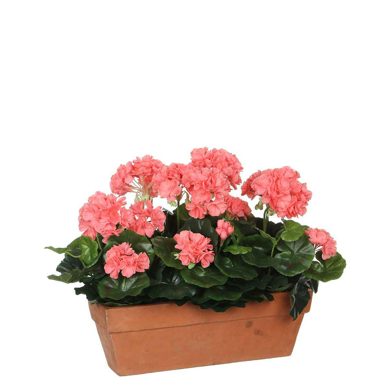 Mica Decorations geranium zalm in balkonbak terra maat in cm: 39 x 13 x 40