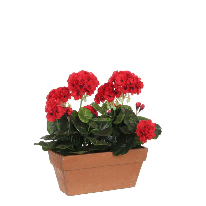 Mica Decorations geranium rood in balkonbak terra maat in cm: 29 x 13 x 40