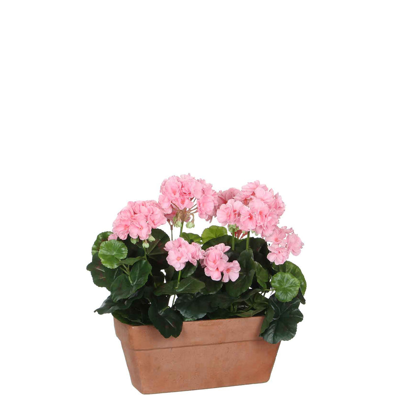 Mica Decorations geranium roze in balkonbak terra maat in cm: 29 x 13 x 40