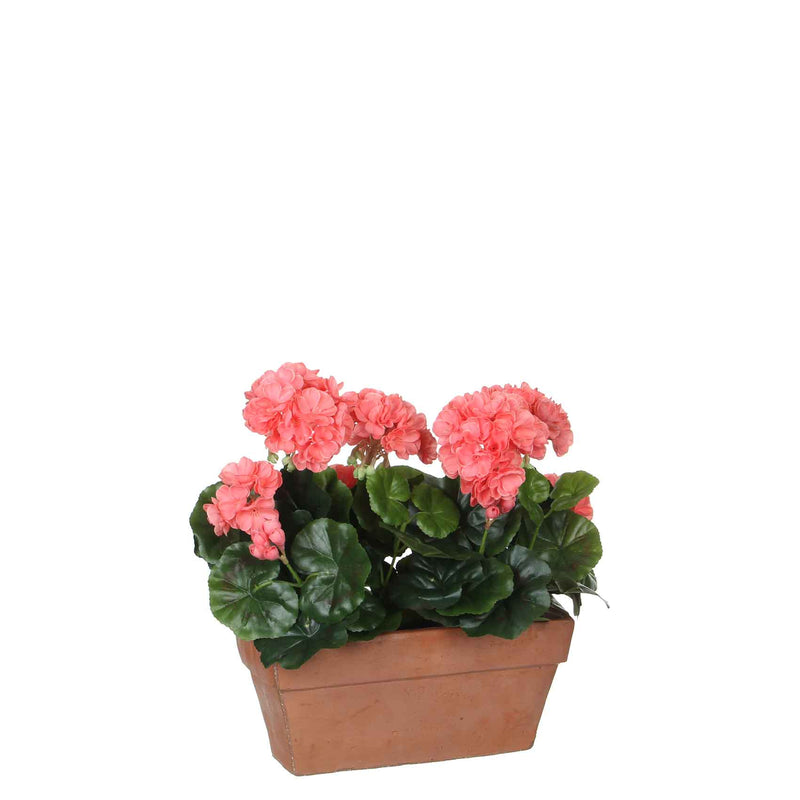 Mica Decorations geranium zalm in balkonbak terra maat in cm: 29 x 13 x 40