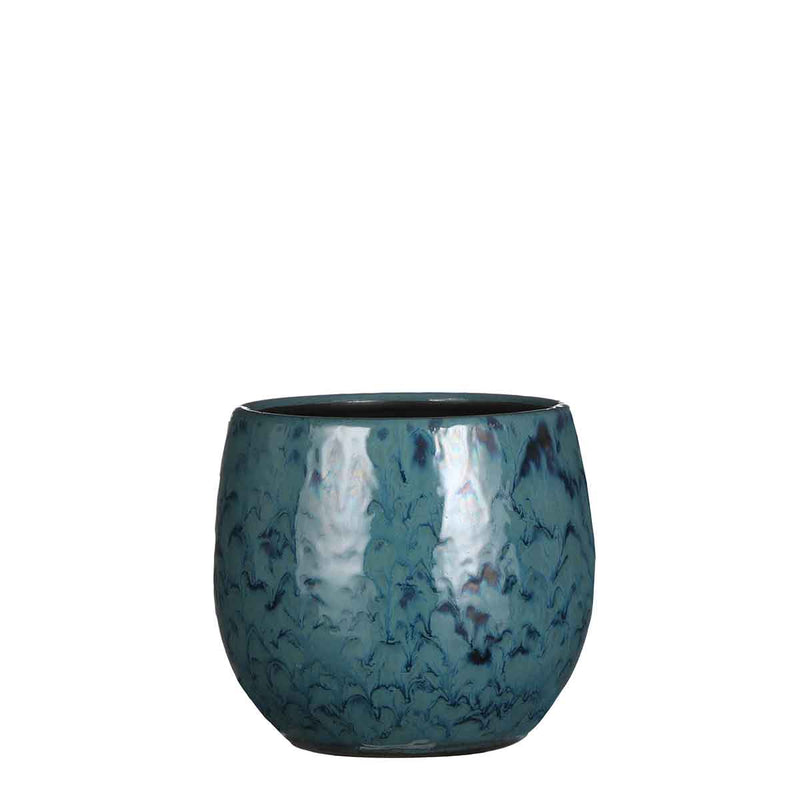 Mica Decorations gustavo ronde pot blauw maat in cm: 16 x 19