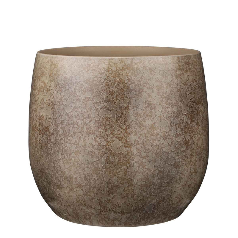 Mica Decorations oliver ronde pot bruin maat in cm: 31 x 33