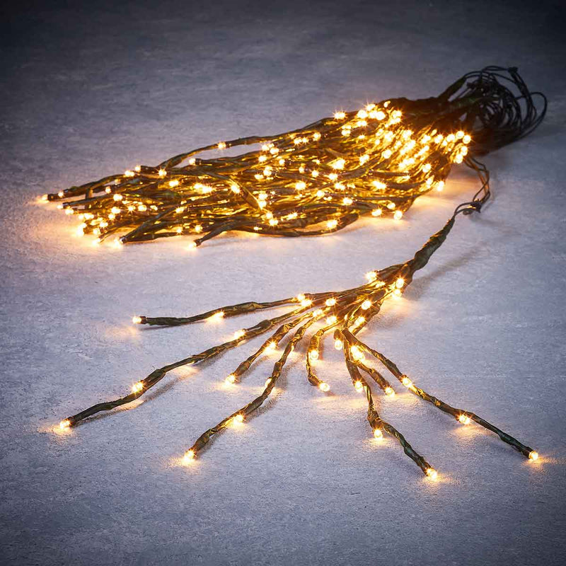 Tree lighting green w.white 400led IP44 timer-l270xw40cm
