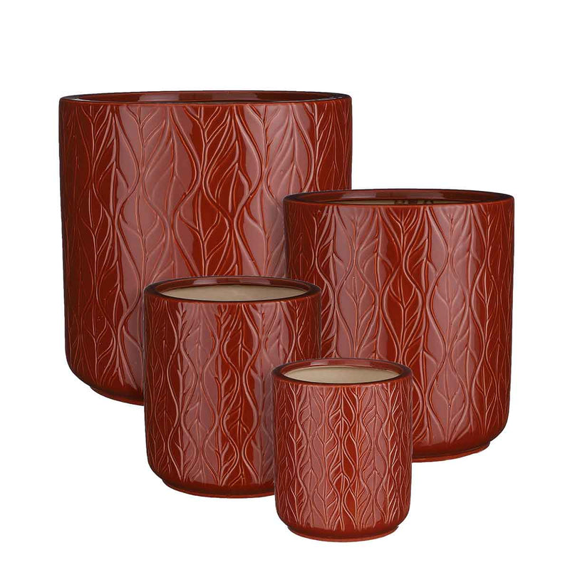 Mica Decorations Lars Ronde Pot - H29 x Ø29 cm - Set van 4 - Donkerbruin relief