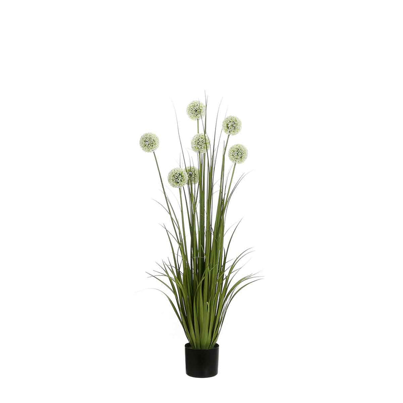 Mica Decorations Pluimgras Allium Kunstplant - H122 x Ø40 cm - Plastic Pot - Wit