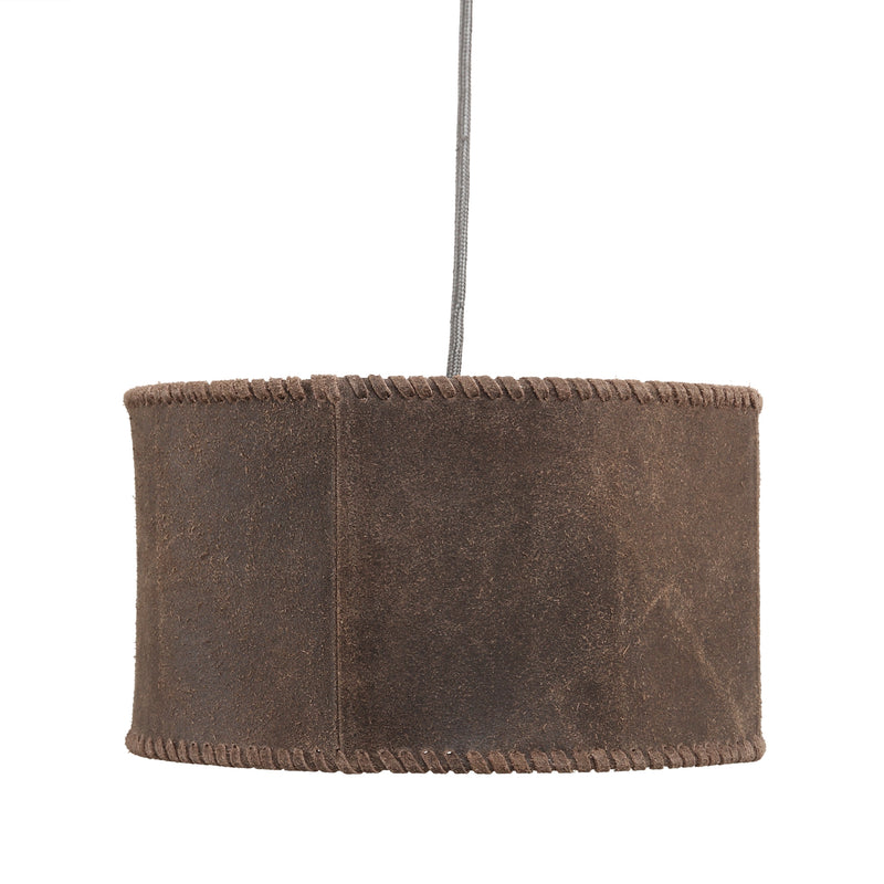 PTMD Chester bruine ronde leren plafond lamp maat in cm: 30 x 30 x 17