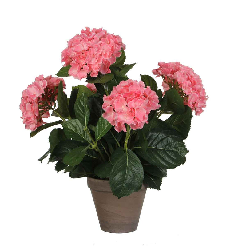 Mica Decorations hortensia roze in pot stan grijs d13,5 maat in cm: 45 x 45