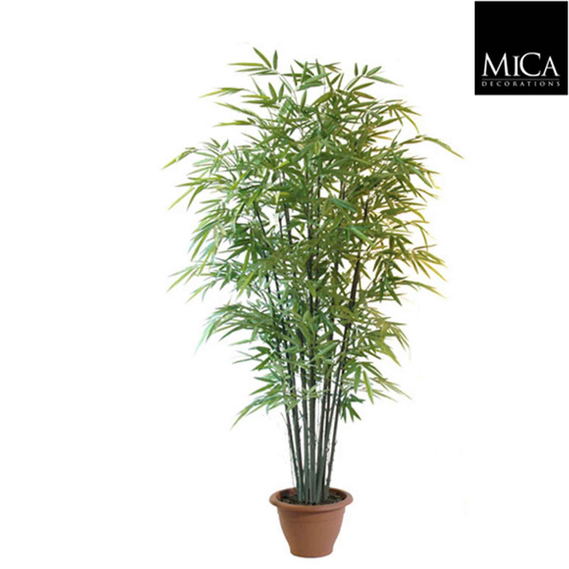 Mica Decorations bamboe h210d90 groen in pot