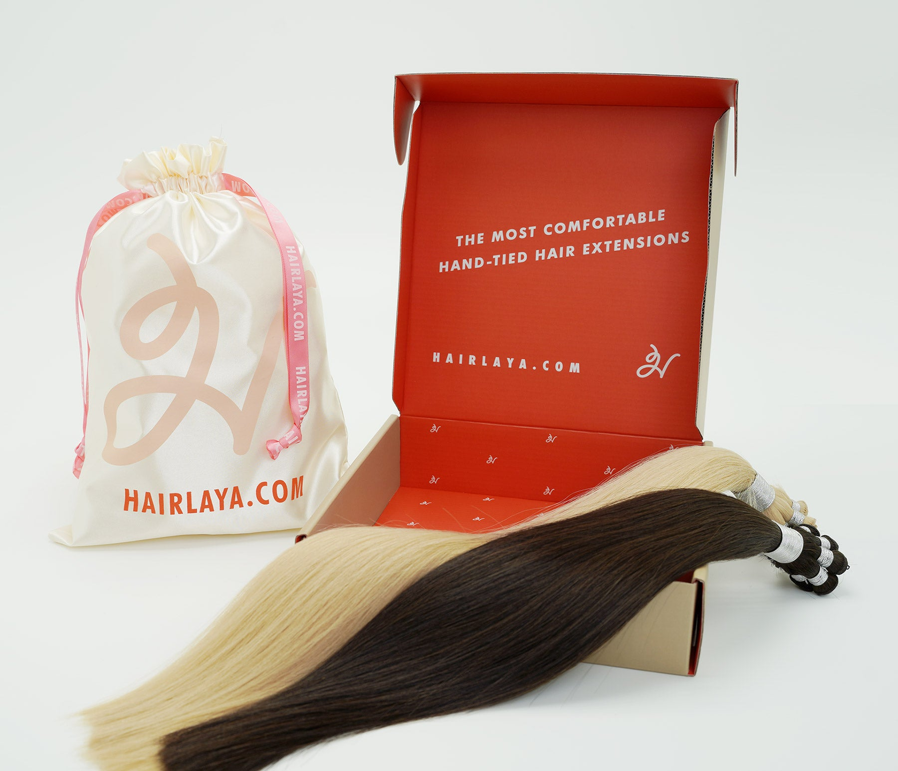 Hairlaya hand tied double drawn extensions