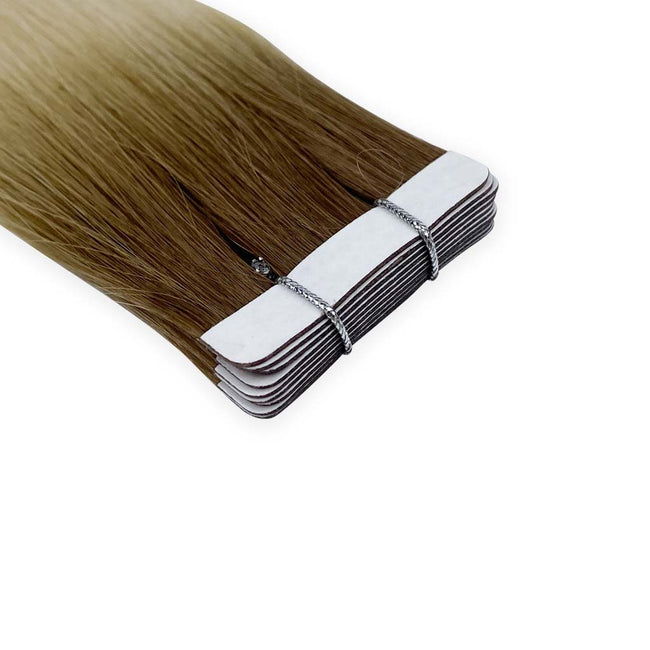 Dark Blonde/Blonde(#R8/613) Straight Tape-In Hair Extensions Double Drawn Detail