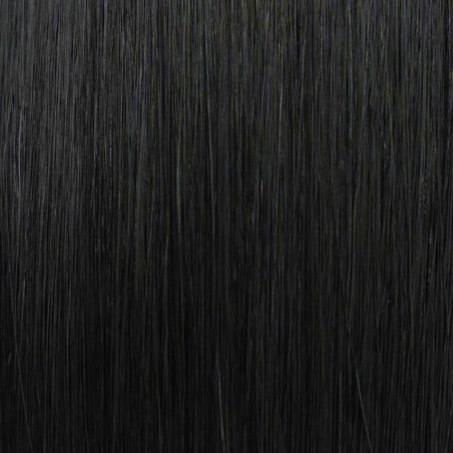 Black (#1) Straight Tape-In Hair Extensions Double Drawn