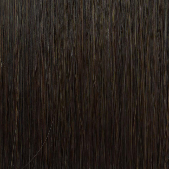 Darkest Brown (#2) Straight Tape-In Hair Extensions Double Drawn