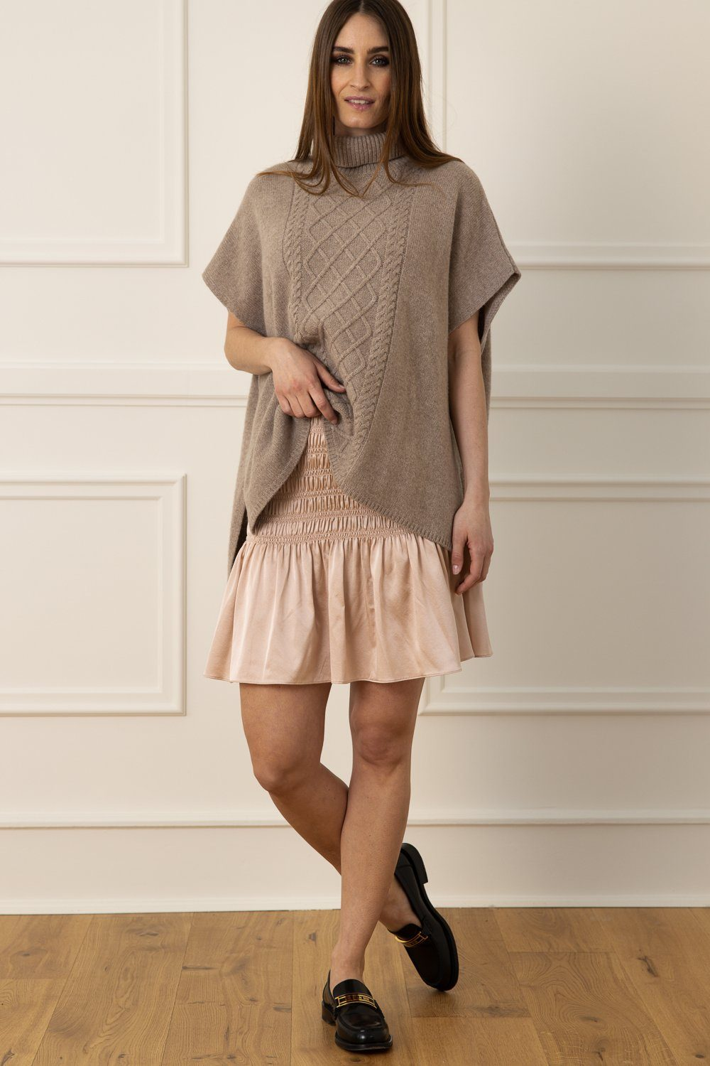 Cashmere Poncho - Light Smoke