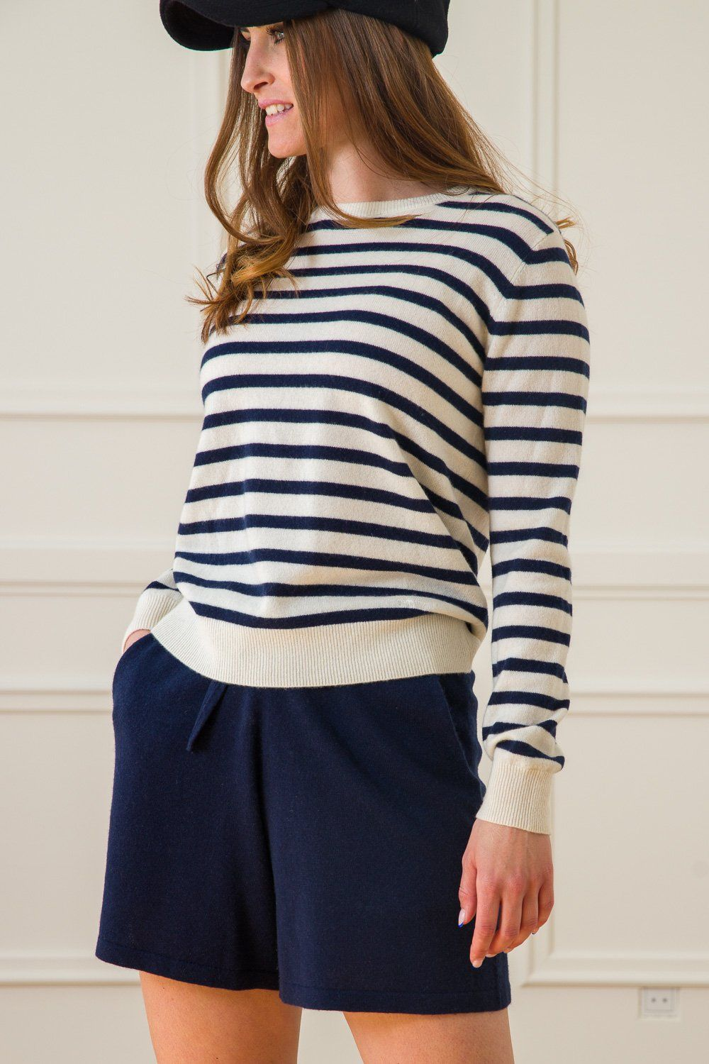 Johanne Sailor Cashmere Sweater - White/Blue