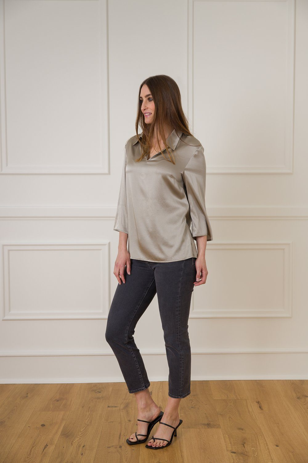 Karen Silk Shirt - Grey