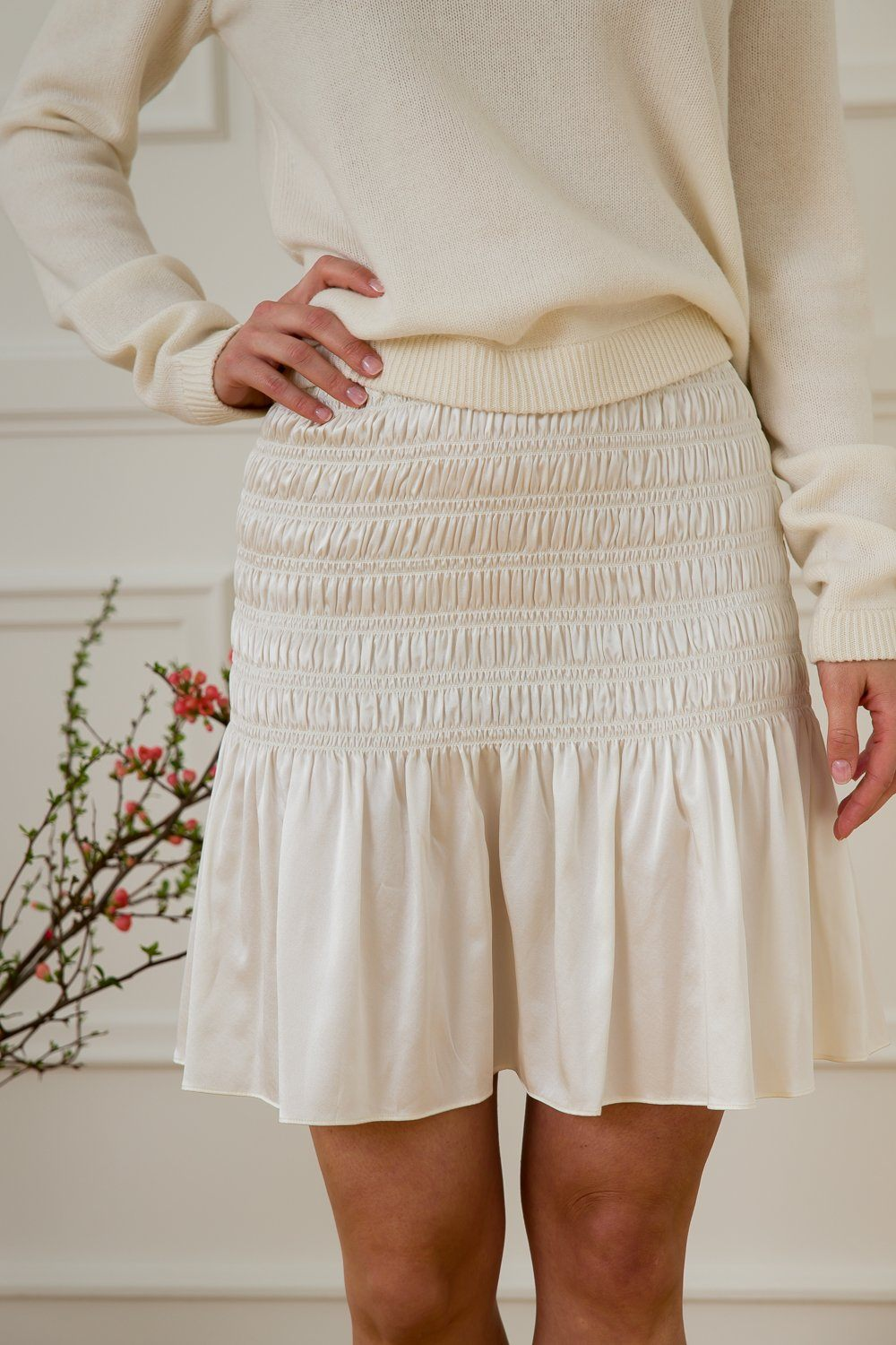 Kelly Silk Skirt - Off White