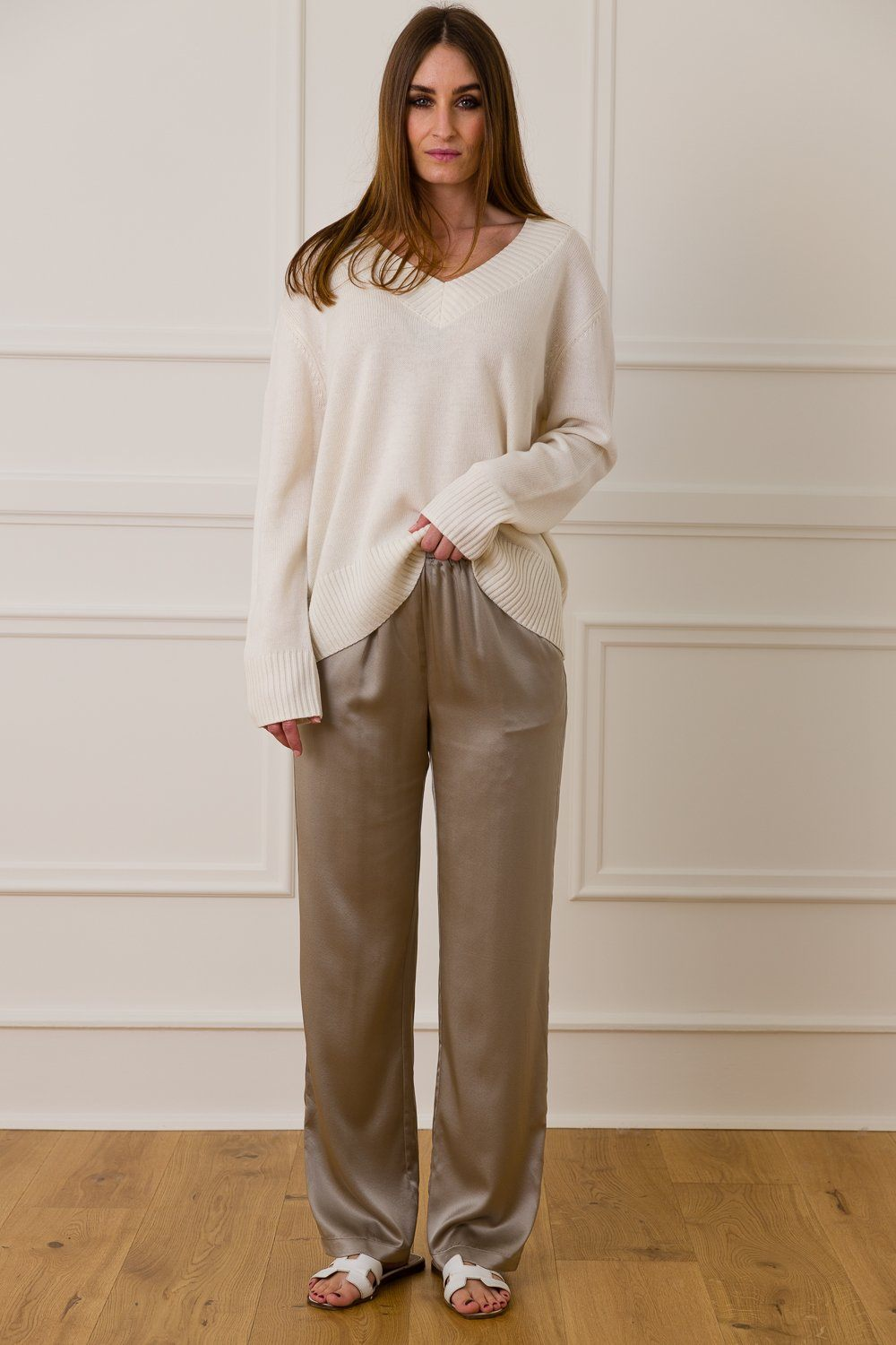 Klaudia Silk Pants - Grey