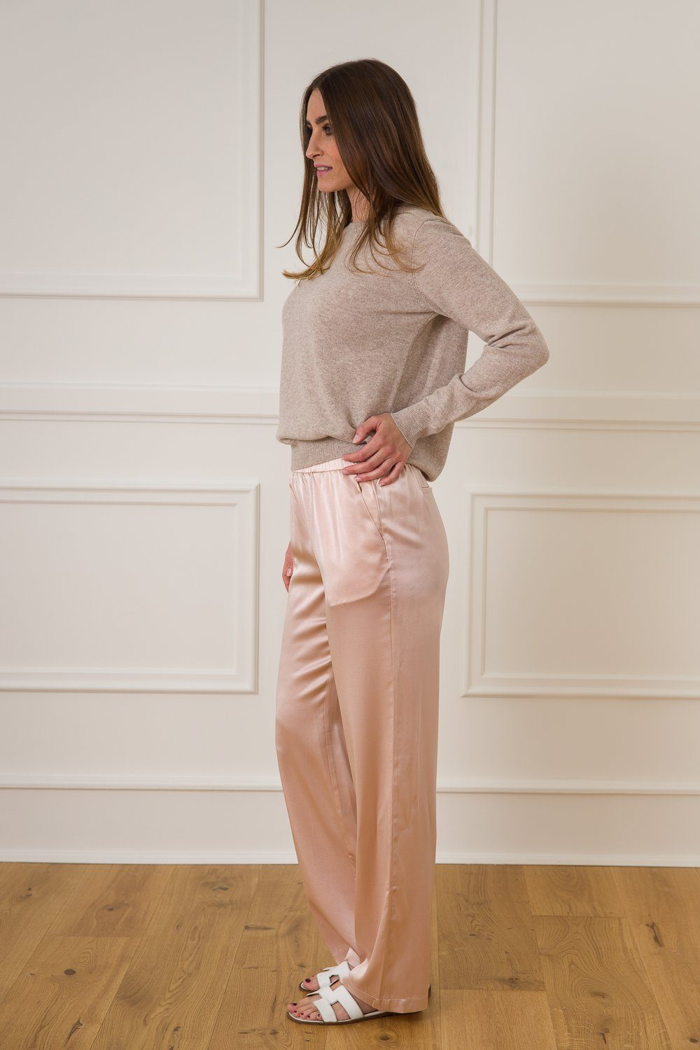 Klaudia Silk Pants - Rose Dust
