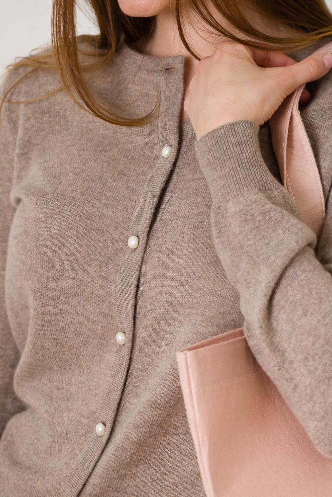 Lailabeth Cashmere Cardigan - Light Brown