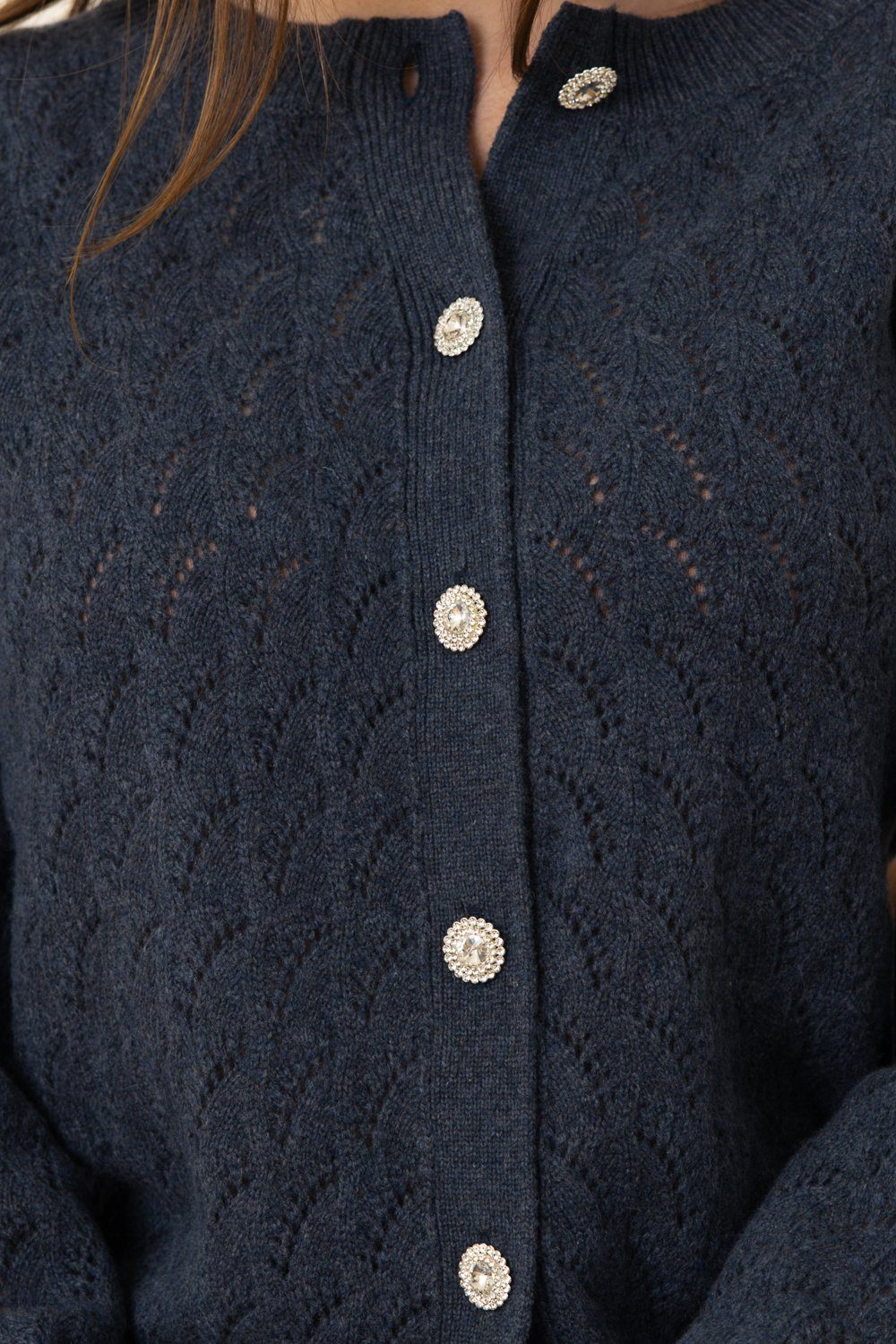 Lotus Cashmere/Wool Cardigan - Dark Blue Melange