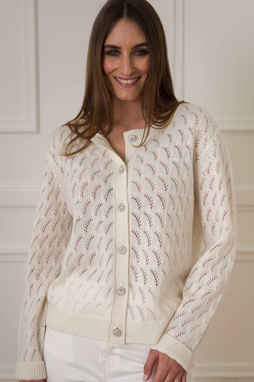 Lotus Cashmere/Wool Cardigan - Off White
