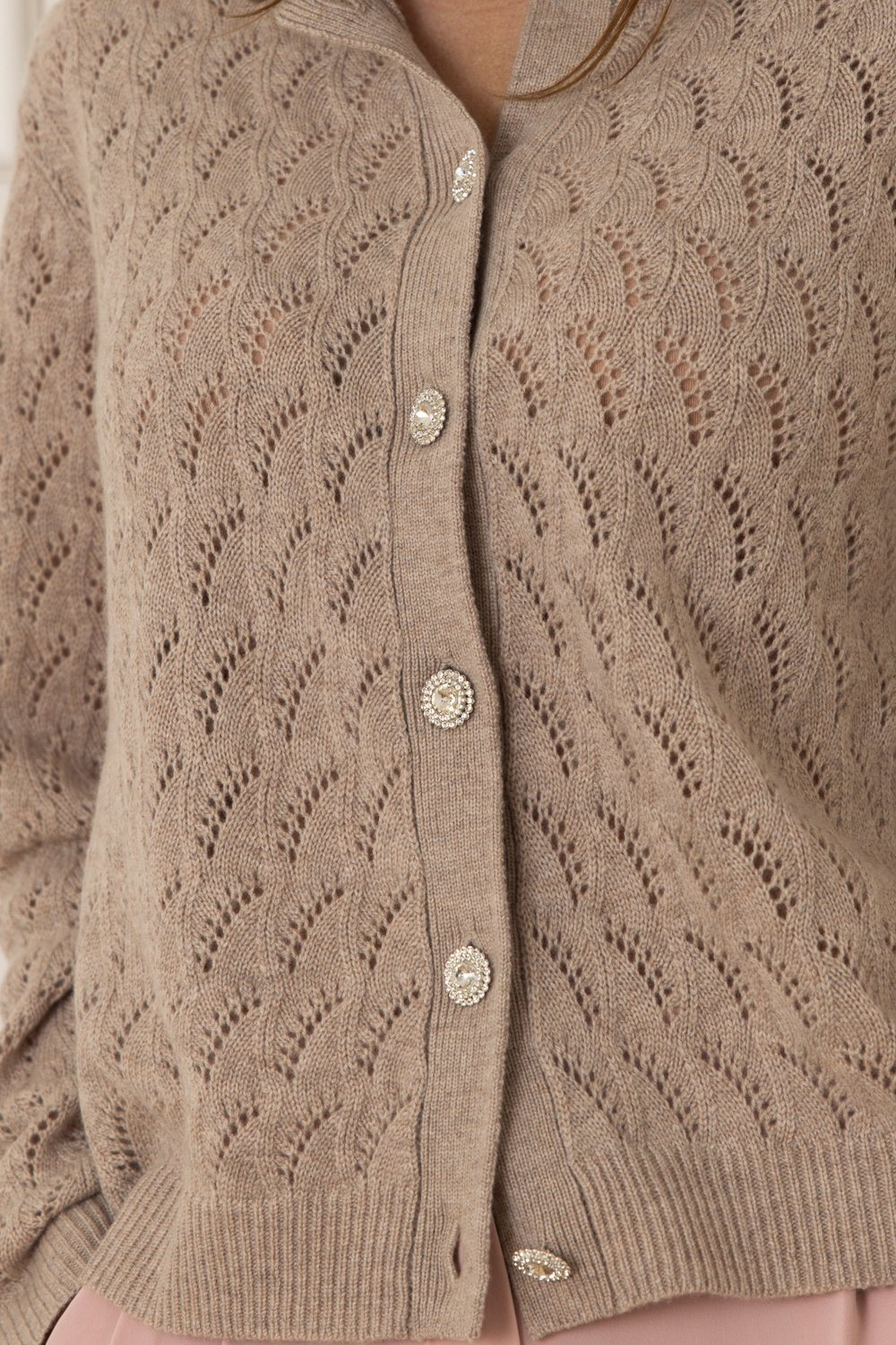 Lotus Cashmere/Wool Cardigan - Stone Brown