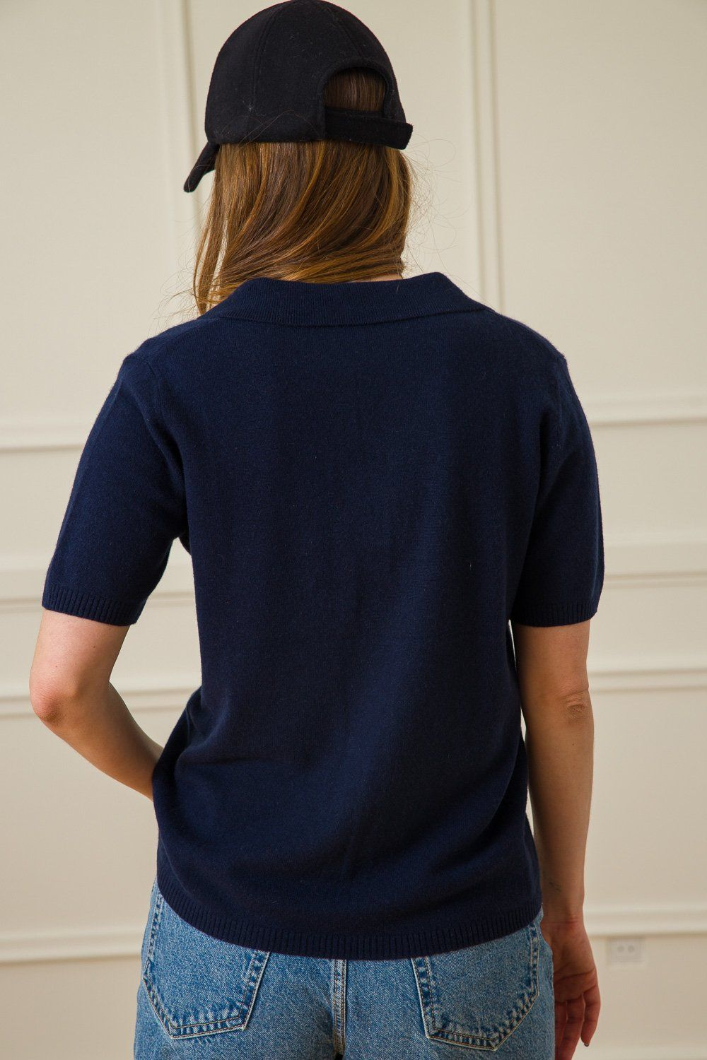 Marina Cashmere Polo - Dark Blue