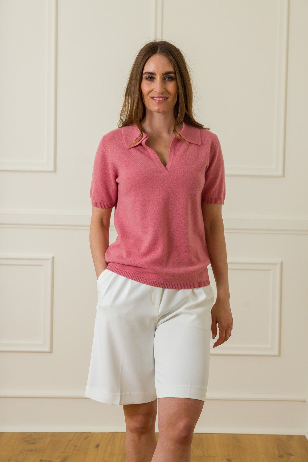Marina Cashmere Polo - Old Rose