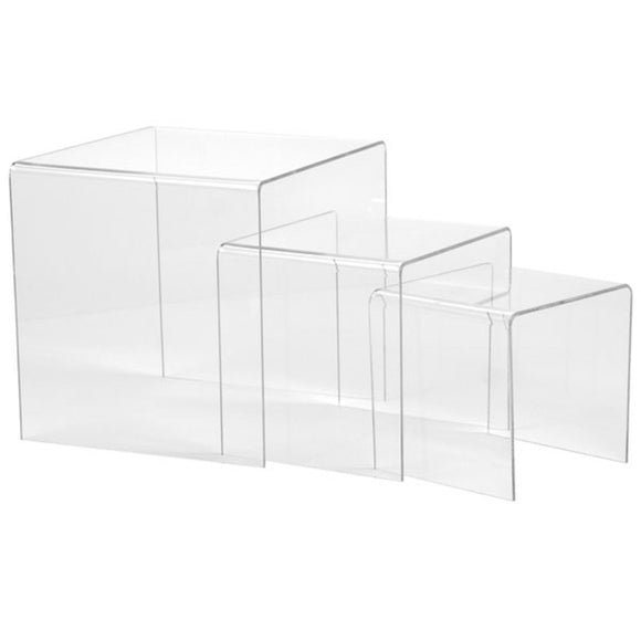 Set of 3 Acrylic Risers - Large - Clear