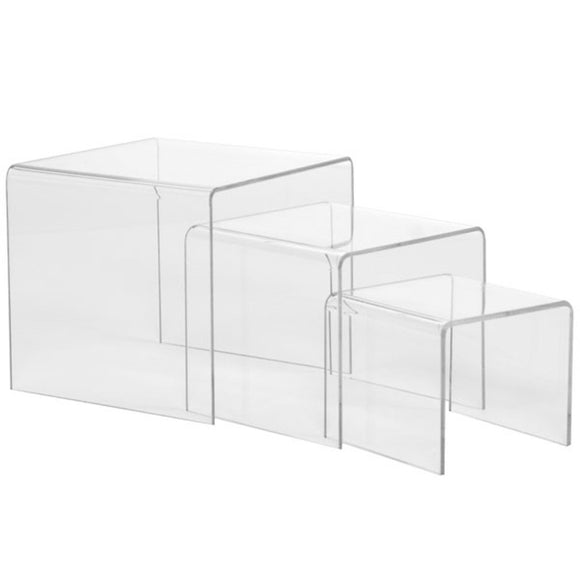 Set of 3 Acrylic Risers - Small - Clear